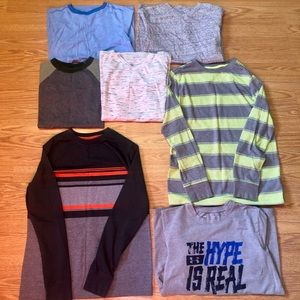 Boys size Large Lot Of 9 short/long sleeve shirts